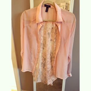 Light Pink/Dusty Rose Blouse with Lace Back